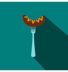 Sausage on a fork with mustard icon flat style vector