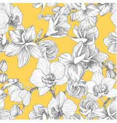Seamless pattern hand drawn outline bouquet vector