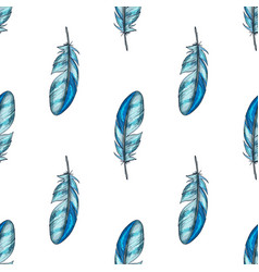 seamless pattern with blue detailed bird vector image