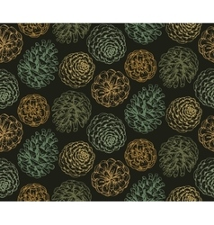 Seamless pattern with hand drawn pine cones vector image