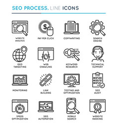 seo search engine optimization process thin line vector image