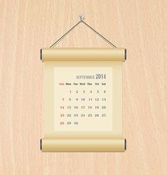 September2014 calendar on wood wall vector image