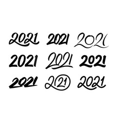 set new year 2021 calligraphy numbers vector image