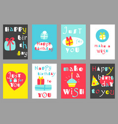 Set of birthday banners in naive hand drawn style vector