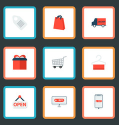 set of store icons flat style symbols with bag vector image