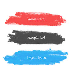 Set of three watercolor stroke banner design vector