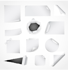 Set of white paper design elements vector image