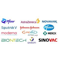 Set top pharmaceutical companies logo vector