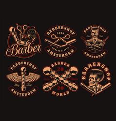 set vintage barbershop emblems on a dark vector image