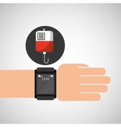 Smart watch medical service bag blood vector