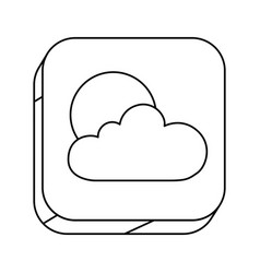 Square silhouette button with contour of cloud vector
