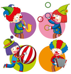 Sticker design with happy clowns vector