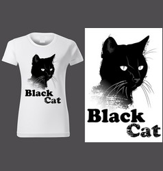 t-shirt design with black cat vector image