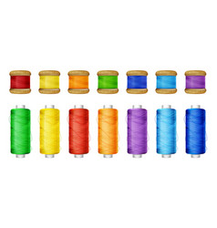 thread spools color set vector image