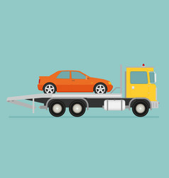 Tow truck with car on it flat style vector