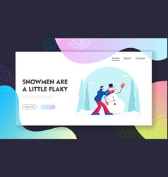 traditional winter activity website landing page vector image