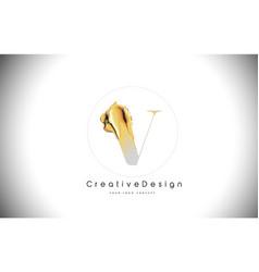 v golden letter design brush paint stroke gold vector image