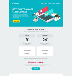 website template design chat messaging app for vector image