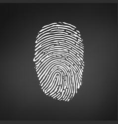 white fingerprint icon on modern black background vector image