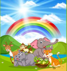 wild animals in nature vector image