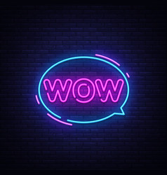 wow neon text wow pop art neon sign vector image