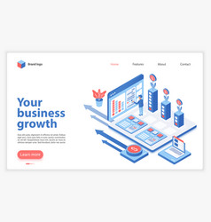 your business growth landing page template vector image