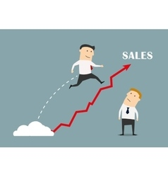 Businessman jumping up to success vector image