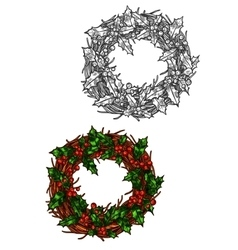 Christmas wreath of holly leaves isolated sketch vector image vector image