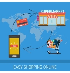 EASY SHOPPING ONLINE BANNER vector image vector image