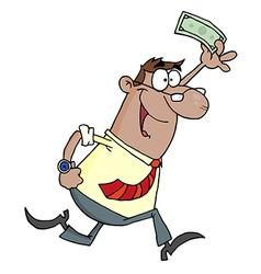 Hispanic Businessman Running And Holding Up Cash vector image