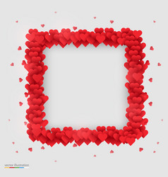 rectangle photo frame made of many hearts vector image