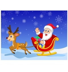 Santa in his Christmas sled being pulled by reinde vector image