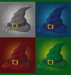 tall witch hat on abstract vector image