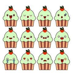 cup cake kawaii character cartoon cute face happy vector image