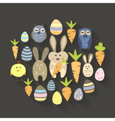Easter eggs birds rabbits and carrots icons set vector image