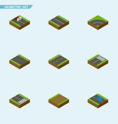 Isometric way set of driveway repairs pedestrian vector