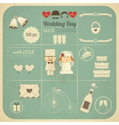 Wedding Invitation Infographics Retro Card vector image vector image