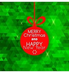 Merry christmas ball card abstract green vector