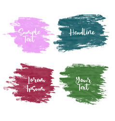 set of four greunge watercolor paint stroke vector image vector image