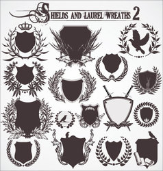 shields and laurel wreaths - set 2 vector image vector image
