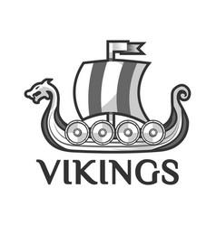 viking warship boat with drakkar or drekar vector image vector image