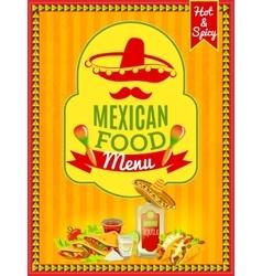 Mexican food menu poster vector