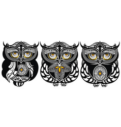 owls decorative design vector image vector image