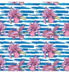 Seamless pattern with orchid flowers on the vector