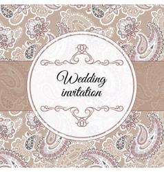 Wedding invitation in beige style vector image vector image