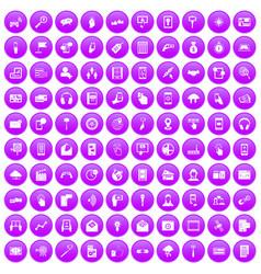 100 mobile icons set purple vector