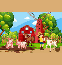a girl at nature farm vector image