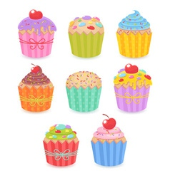 a set tasty colorful muffins and cupcakes vector image