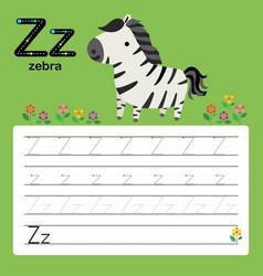 alphabet z worksheet learning english vocabulary vector image