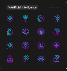 Artificial intelligence thin line icons set vector